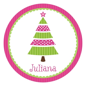 Pink Tree Personalized Christmas Plate