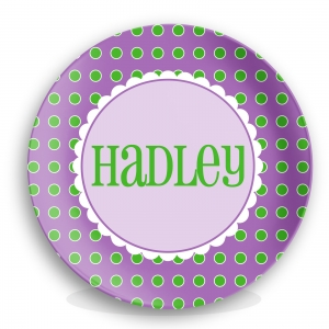 Purple Dots Girls Personalized Plate
