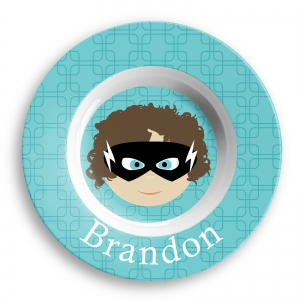 Personalized Boys Melamine Faces Bowl- Brandon Superhero Boys Bowls