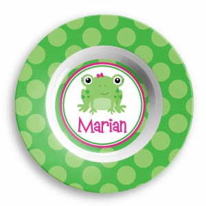 Frog Girl Personalized Bowl