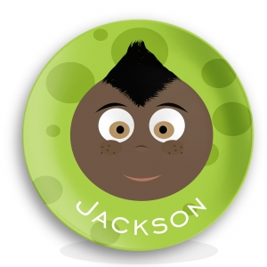 "Personalized Boys 10"" Melamine Face Plate - Jackson"