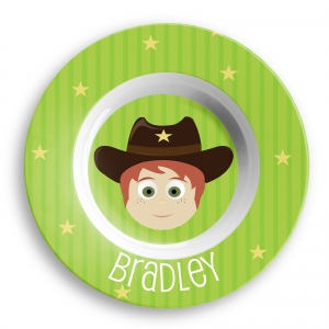 Personalized Boys Melamine Faces Bowl- Cowboy Bowl