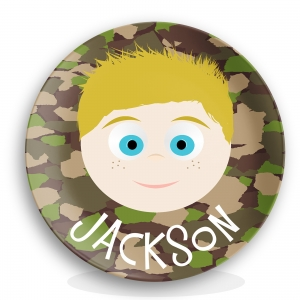 "Personalized Boys 10"" Melamine Face Plate - Camo"