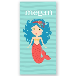 Mermaid Blue Personalized Kids Beach Towel