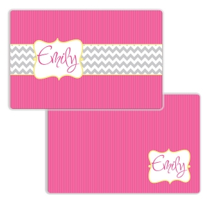 Pink Chevron Stripes Girls Personalized Placemat