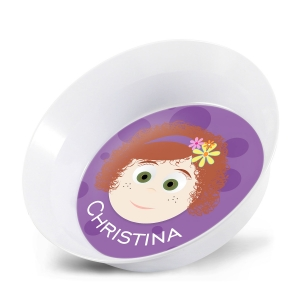 Personalized Girls Melamine Faces Bowl- Christina Personalized Kids Bowl