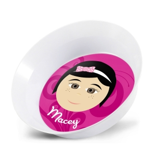 Personalized Girls Melamine Faces Bowl- Macey Personalized Melamine Bowl