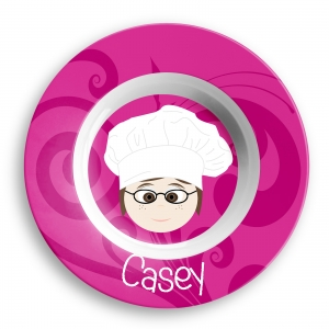 Personalized Girls Melamine Faces Bowl-Casey Girl Bowl