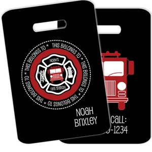 Fireman Personalized Kids Bag Tag