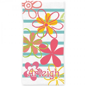 Fresh Flowers Personalized Kids Beach Towel