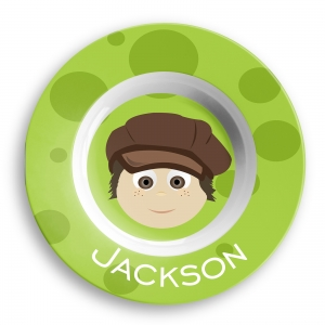 Personalized Boys Dinner Bowl - Hipster Newsboy Hat