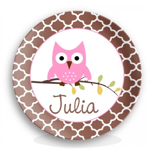 Hoot Girl Personalized Melamine Plate