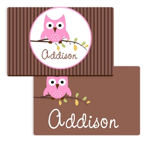 Hoot Owl Girls Personalized Placemat