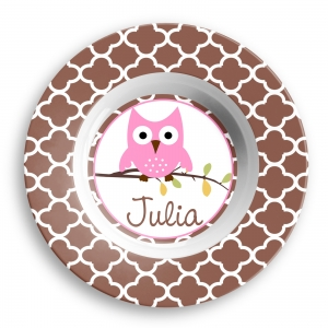 Hoot Owl Girls Personalized Bowl
