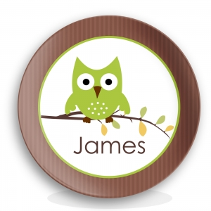 Hoot Boy Personalized Melamine Plate