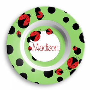 Ladybug Girls Personalized Bowl