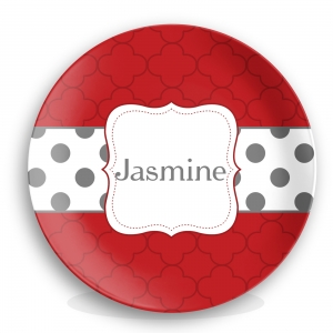 Petals & Polka Dots Girls Personalized Plate