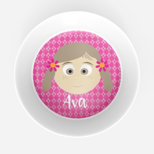 Personalized Girls Melamine Faces Bowl- Johannah Personalized Melamine Bowl