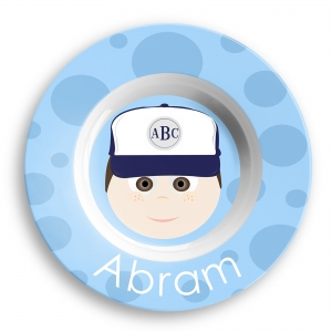 Personalized Boys Melamine Faces Bowl- Abram Baseball Boy Bowl