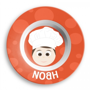 Personalized Boys Melamine Faces Bowl- Chef Boys Bowl