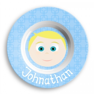 Personalized Boys Melamine Faces Bowl- Johnathon Bowl
