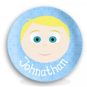 "Personalized Boys 10"" Melamine Face Plate - Johnathon"