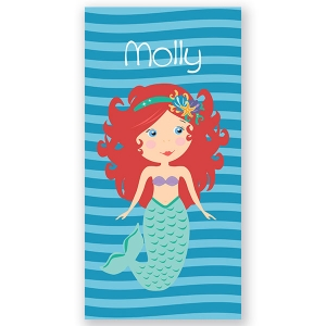 Mermaid Orange Personalized Kids Beach Towel