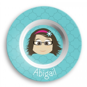 Personalized Girls Melamine Faces Bowl- Abigail Personalized Melamine Bowl For Kids