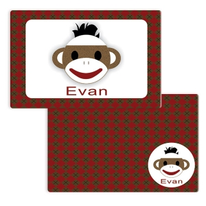 Sock Monkey Boys Personalized Placemat