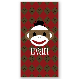 Sock Monkey Boy Personalized Kids Beach Towel