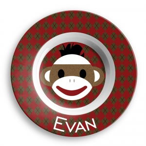 Sock Monkey Boys Personalized Melamine Bowl