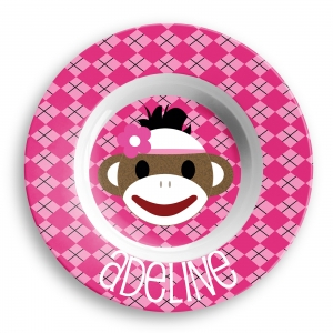 Sock Monkey Girls Personalized Bowl