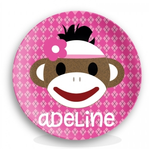 Sock Monkey Girls Personalized Plate