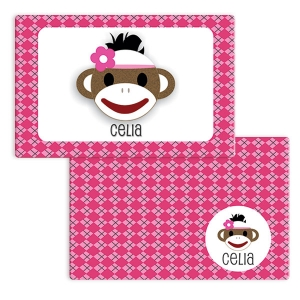 Sock Monkey Girls Personalized Placemat