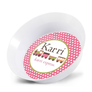 Train Girls Personalized Bowl