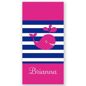 Whale Girl Personalized Kids Beach Towel