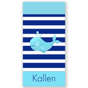 Whale Personalized Kids Beach Towel