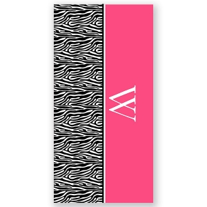 Zebra Initial Personalized Beach Towel