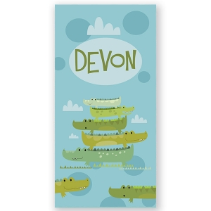 Stacked Alligators Personalized Kids Beach Towel
