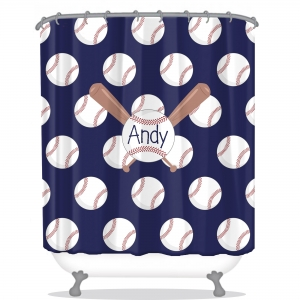 Baseball Personalized Shower Curtain