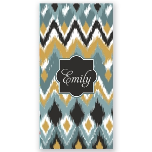 Blue Ikat Personalized Beach Towel