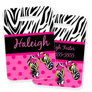 Dot Zebra Personalized Kids Bag Tagds Bag Tag