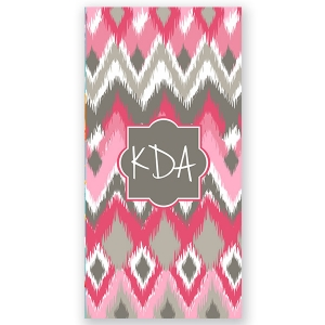 Pink Ikat Personalized Beach Towel
