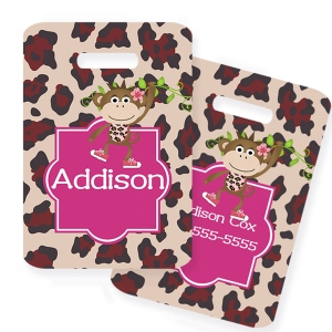 Monkey Girl Personalized Kids Bag Tag
