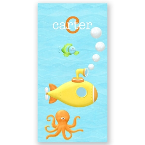 Yellow Submarine Personalized Kids Beach Towel