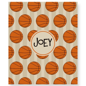 Basketball Personalized Velveteen Plush Blanket Throw