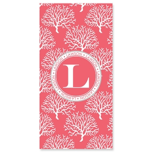 Coral Personalized Bath or Beach Towel