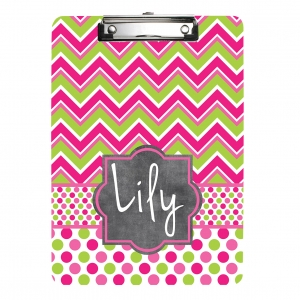 Pink Chevron Polka Dots Personalized Clipboard