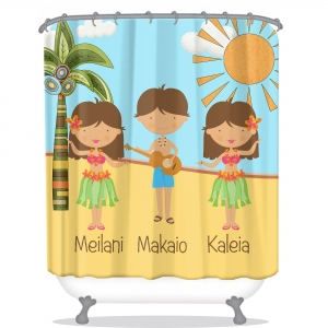 Hula Personalized Shower Curtain