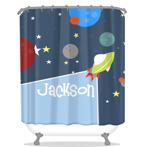 Rockets Personalized Shower Curtain